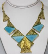 BABY BLUE BRASS NECKLACE