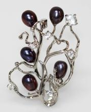 REFINED BLACK PEARL CZ BROOCH.925 STERLING SILVER