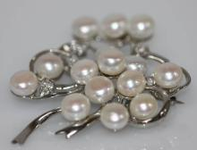 WHITE PEARL AND CZ BROOCH