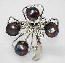 IRISH CLOVER BLACK CZ PEARL BROOCH .925 STERLING SILVER