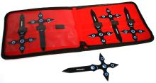 COLLECTORS EDITION BLACK THOWING KNIVES SET OF 6 W/CASE
