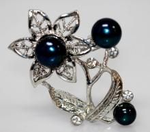 BLACK PEARL FLOWER CZ BROOCH