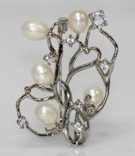 WHITE PEARL CZ BROOCH .925 STERLING SILVER