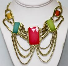MULTICOLOR STONE BRASS NECKLACE