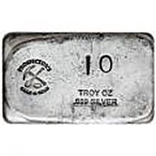 Prospectors Gold And Gems Silver Bar 10 Ounce .999 Fine