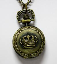 VINTAGE STYLE BRASS POCKET WATCH W/CROWN AND FLOWER DES