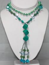 BEADED BLUE TURQUOISE 303.00CTW LONGSTRAND NECKLACE 20I