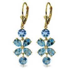 14K. GOLD CHANDELIERS EARRINGS WITH BLUE TOPAZ