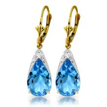 14K. GOLD LEVERBACK EARRINGS WITH NATURAL BLUE TOPAZ
