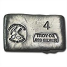 4 oz Prospector's Gold & Gems Silver Bar .999 Fine