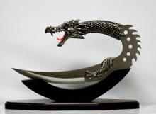 STAINLESS STEEL DRAGON HEAD TRIBAL KNIFE WITH WOODEN DISPLAY STAND