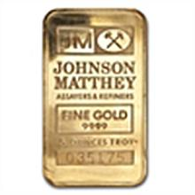 5 oz Johnson Matthey Pressed Gold Bar .9999 Fine (JM Lo