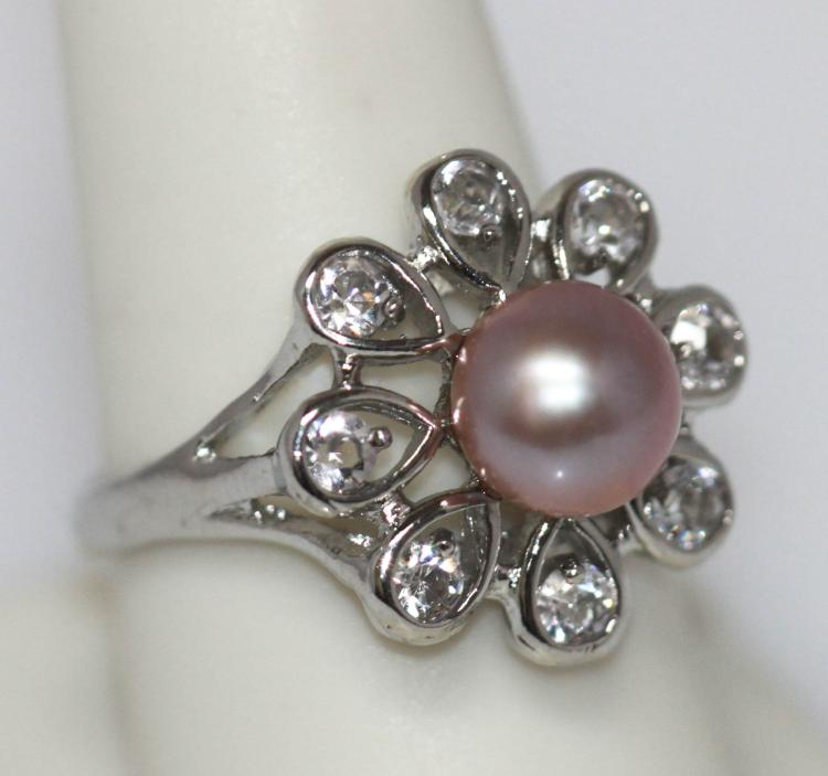 PURPLE PEARL FLOWER CZ RING