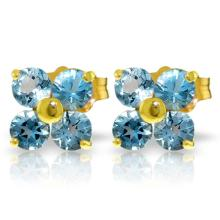 14K. SOLID GOLD STUD EARRINGS WITH BLUE TOPAZ
