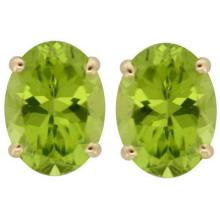 Genuine 8x6mm Oval Peridot Stud Earrings 14kt