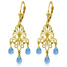 14K. GOLD CHANDELIER EARRING WITH NATURAL BLUE TOPAZ