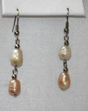 WHITE AND PEACH TRIPLE PEARL DANGLING EARRINGS;AUTHENTI