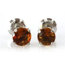 Genuine 2.82 ctw Orange Citrine Stud Earring 14k 0.92g