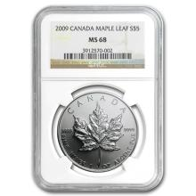 2009 1 oz Silver Canadian Maple Leaf MS-68 NGC