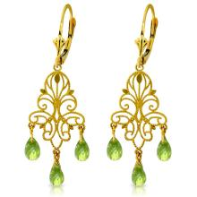 14K. GOLD CHANDELIERS EARRING WITH NATURAL PERIDOTS