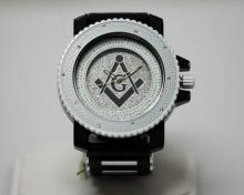 MODERN WHITE AND BLACK MASONIC WATCH W/SILVER BACK GROUND