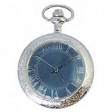 Antque Style Blue,Polished Silver Finished Mechanical P