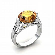 Genuine 4.29 ctw Citrine Ring 10k W/Y Gold