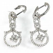 Genuine 0.87 ctw Diamond Earring 18KT White Gold