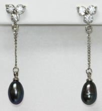 Black Pearl Dangling Pearl Earrings