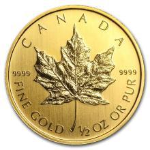 1/2 oz Gold Canadian Maple Leaf - Random Year