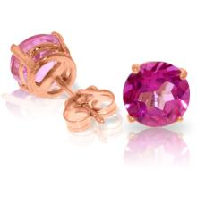 14K. GOLD STUD EARRING WITH NATURAL PINK TOPAZ