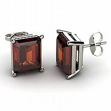 Genuine 8.60 ctw Garnet Earring 14k W/Y Gold