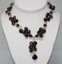 282.85 CTW Natural Ruby Semi Precious Necklace .925 Ste