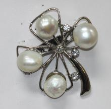 CLOVER SHAPE WHITE PEARL AND CZ BROOCH