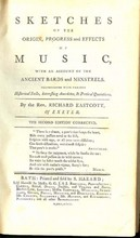 1793 Sketches Of The Origin, Progress And Effects Of Music, With An Account Of The Ancient Bards And Minstrels