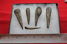 5 Bone Awls, Ex Indiana Collection