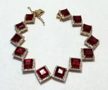 App. $7,785 One 925 Silver Ruby & White Sapphire Bracelet