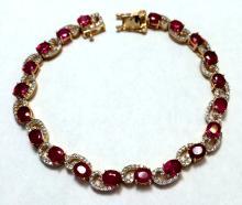 App. 3,770 One 925 Silver Ruby & White Sapphire Bracelet