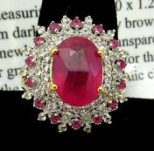 $1600 App. Ruby & Sapphire Ring in Sterling 7.44c.