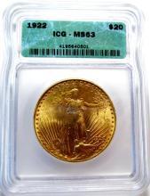 1923 ICG MS 62 $20 Saint Gauden's Gold DBL EGL