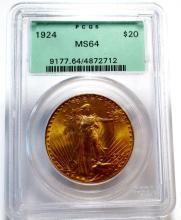 1924 PCGS MS 64 OLD RATTLER $20 Saint Gauden's