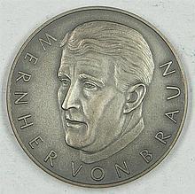 Silver Medal space, lunar flight in 1969, Apollo 11, Wernher von Braun, 1000 Silver