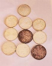 Lot coins, consisting of: 8 x 10 DM and 2 silver medals World Cup 1974th.