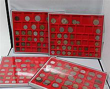 8 Lindner Coin boxes, all with circulation coins world, small treasure trove