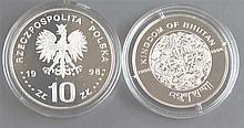 Poland / Bhutan 1998/1996, 1 x 10 zloty - silver coin