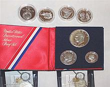 Lot coins, some silver, consisting of: USA 1976 Bicentennial Silver Proof Set, Grade: PP.