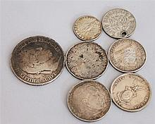 Silver , beautiful Lot of 7 coins ( 1 perforated) , while z . B. 5 Frances 1834 etc.