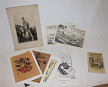 Compilation of various prints and drawings, with a book