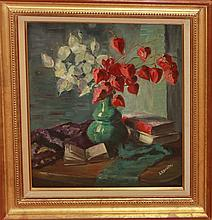 Bonneau, canvas oil painting, Still Life of Flowers in Vase, bottom right signature