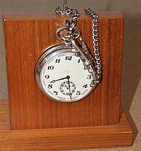 Old Russian pocket watch stand with railway